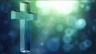 Glassy Cross Spin Background Loop - Textured Aqua Glow HD video