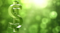 Glassy Dollar Symbol Spin Background Loop - Textured Green video