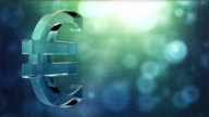 Glassy Euro Symbol Spin Background Loop - Textured Aqua Blue video