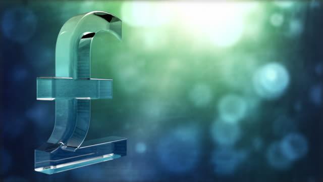 Glassy Pound Symbol Spin Background Loop - Textured Aqua HD video