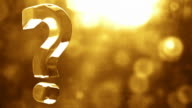 Glassy Question Mark Spin Background Loop - Textured Golden Glow video
