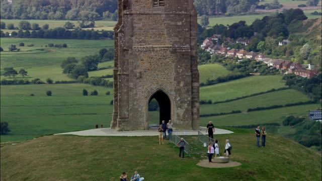 Glastonbury Tor  - Aerial View - England, Somerset, Mendip District, United Kingdom video