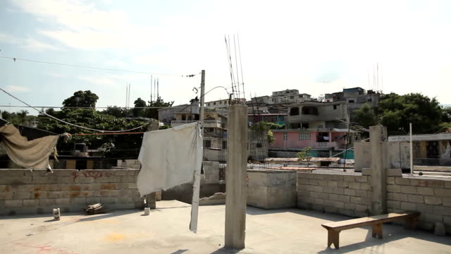 Glidecam shot of rooftop in Port au Prince, Haiti. video