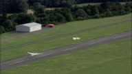 A Glider Takes Off From Bayreuth Airport  - Aerial View - Bavaria,  Upper Franconia,  Landkreis Bayreuth helicopter filming,  aerial video,  cineflex,  establishing shot,  Germany video
