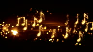 glittering music notes and fireworks loopable animation video