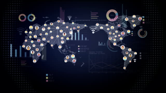 Global economic graph various diagram, connection people video