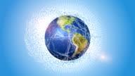 Global Internet Network Around Orbiting Blue Globe video