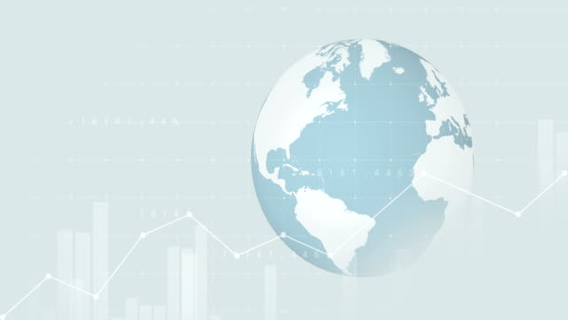 4K Globe animation with financial graphs   Loopable video