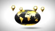 globe around which golden markers geolocation video