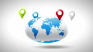 globe around which multicolored markers geolocation video