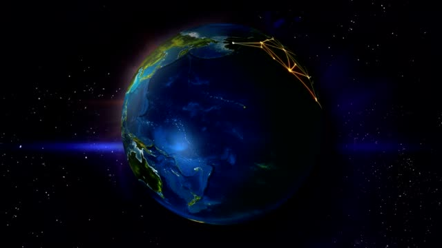 Globe Earth Shine Network Looping Animation video