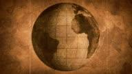 globe sketched on old paper grunge loop background video