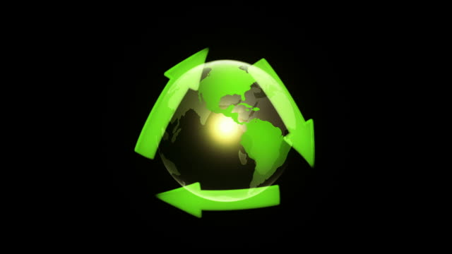 Globe with Recycling Symbol (Black) - Loop video