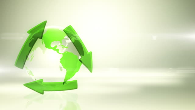 Globe with Recycling Symbol (Left Placed, Bright Background) - Loop video