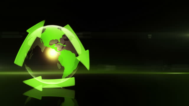 Globe with Recycling Symbol (Left Placed, Dark Background) - Loop video