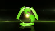 Globe with Recycling Symbol (Centered, Dark Background) - Loop video