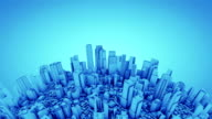 Globe with skyscrapers, blue tint video