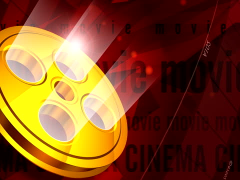 Gloden Movie Tape 3D Animated Video Background NTSC video