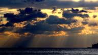 Gloomy seascape and heavy clouds, horizon,skyline video