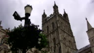 Gloucester cathedral and flower basket low angle video