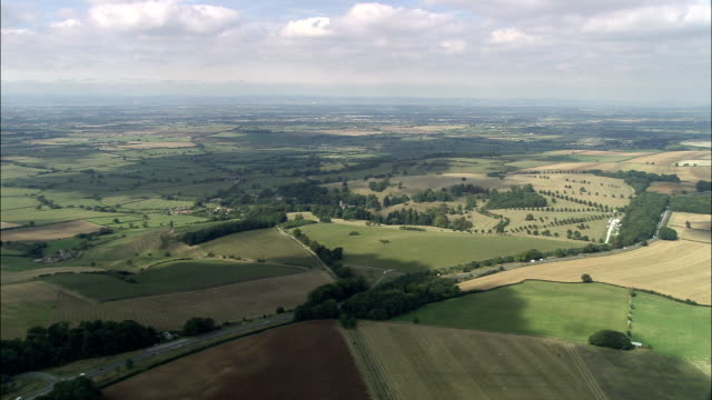 Gloucestershire landscape - Aerial View - England, South Gloucestershire, Dyrham and Hinton, United Kingdom video
