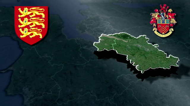 Gloucestershire white Coat of arms animation map video