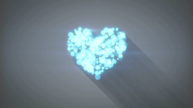 glowing blue heart shape loopable animation video