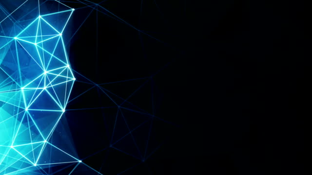 glowing blue polygon background seamless loop video