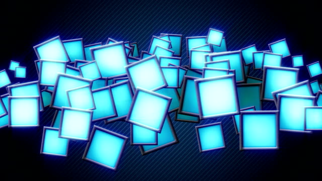 glowing blue squars techno loop background video