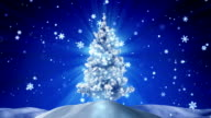 glowing christmas tree at night outdoor loopable video