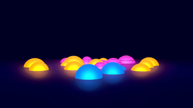 Glowing Colorful 3D Hemispheres Spinning On Dark Background video