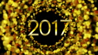 Glowing golden particles New Year 2017 video animation video