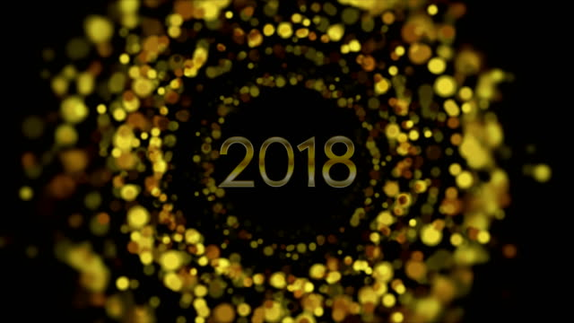 Glowing golden particles New Year 2018 video animation video