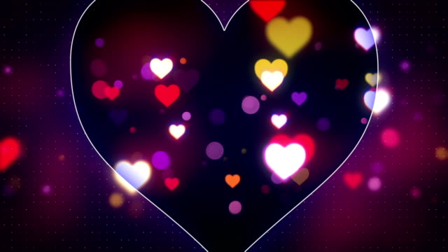 glowing heart shapes loopable love background video
