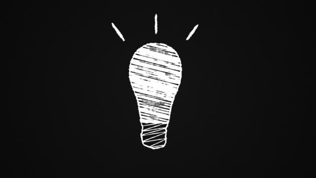 glowing lightbulb drawn on a blackboard, idea, hand drawn animation 4K video