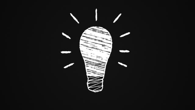 glowing lightbulb painted with chalk on a blackboard, idea, hand drawn animation 4K video