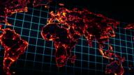glowing map of world seamless loop panning video
