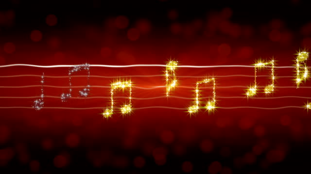 Glowing music notes moving on sheet, passionate love song, romantic background video