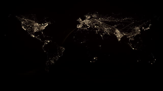 Glowing Network Lines Lighting Up World Map (Gold Version) video