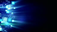 glowing squars on black loop background video