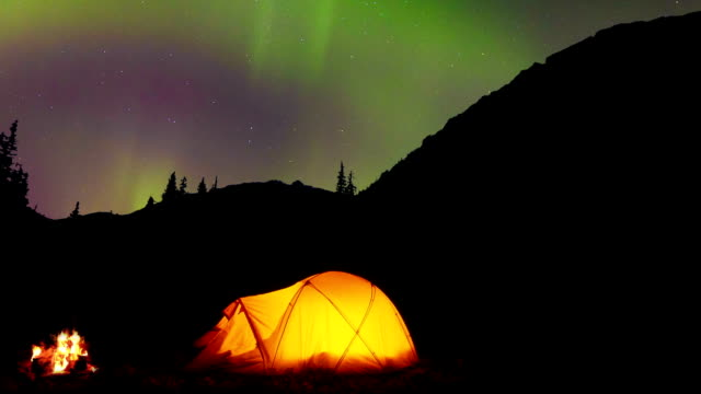 Glowing tent under the Northern Lights video
