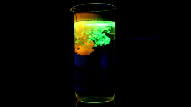 Glowing yellow & green liquid ink chemicals in glass. video