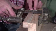 Gluing and clamping two wooden boards video