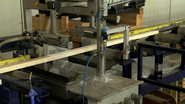 Gluing Lumber on the Wood Production Line video