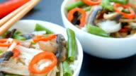 Gluten free roasted teriyaki mushrooms and asparagus rice noodles video