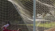 A goalie dives to block a soccer ball and misses video