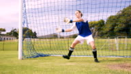Goalkeeper in blue making a save video