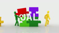 Goals puzzle. White Background. video