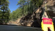 "going car with a sign ""Espana"", Teide National park, Tenerife, Spain video"