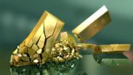 HD: Gold bars falling down video